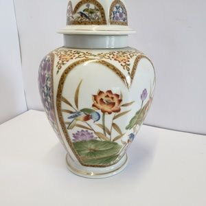 Accents - Vintage Fancy floral Urn with Bird scenes 10 1/2""